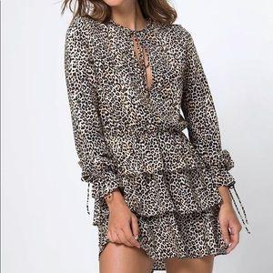 Motel rocks leopard cheetah print ruffle dress